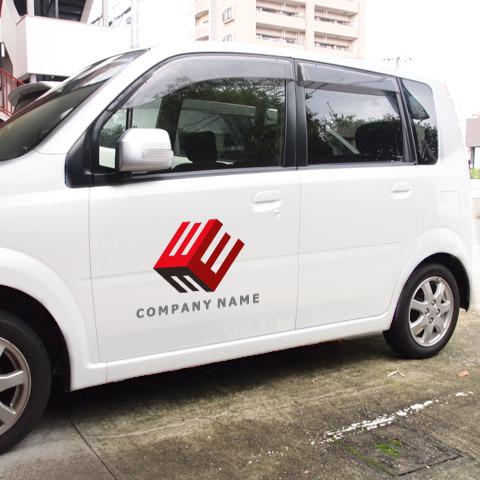 E文字-キューブ営業車